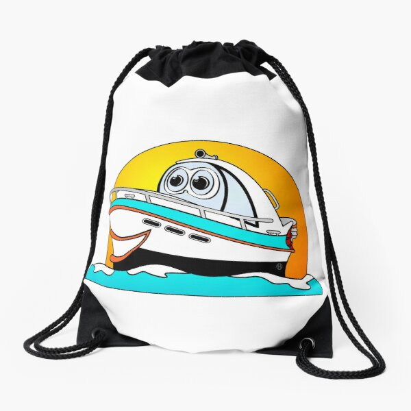 Caribbean Cartoon Motor Boat Drawstring Bag