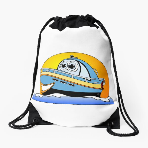 Blue Cartoon Motor Boat Drawstring Bag
