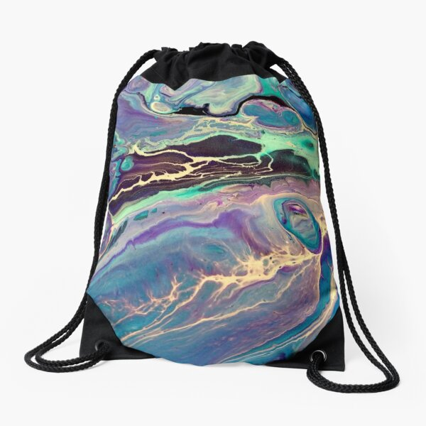 Purple Ultra Violet Modern Fluid Abstract Painting Drawstring Bag