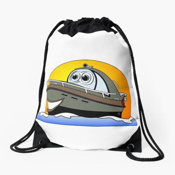 Camo Cartoon Motorboat Drawstring Bag