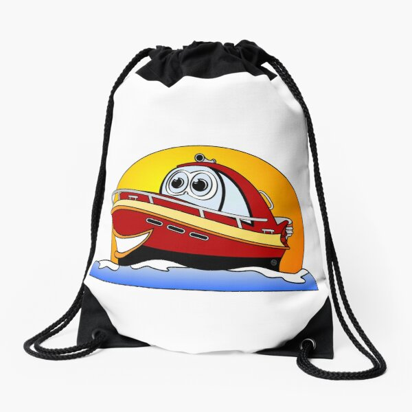 Red Cartoon Motor Boat Drawstring Bag