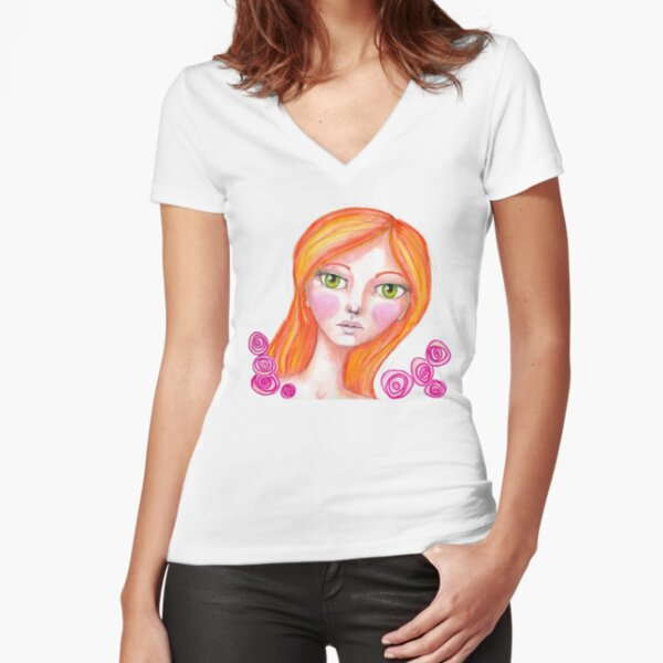Just Rosy Fitted V-Neck T-Shirt