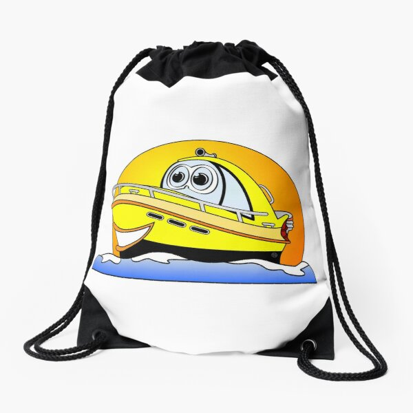 Yellow Cartoon Motor Boat Drawstring Bag