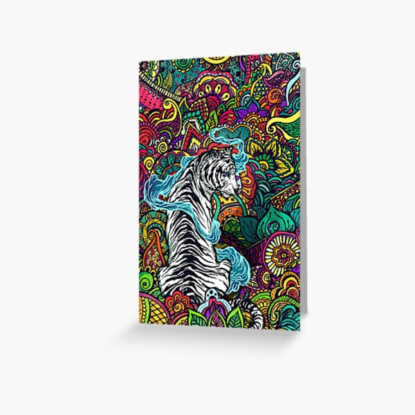 The White Tiger -Tiger with colorful floral pattern Greeting Card