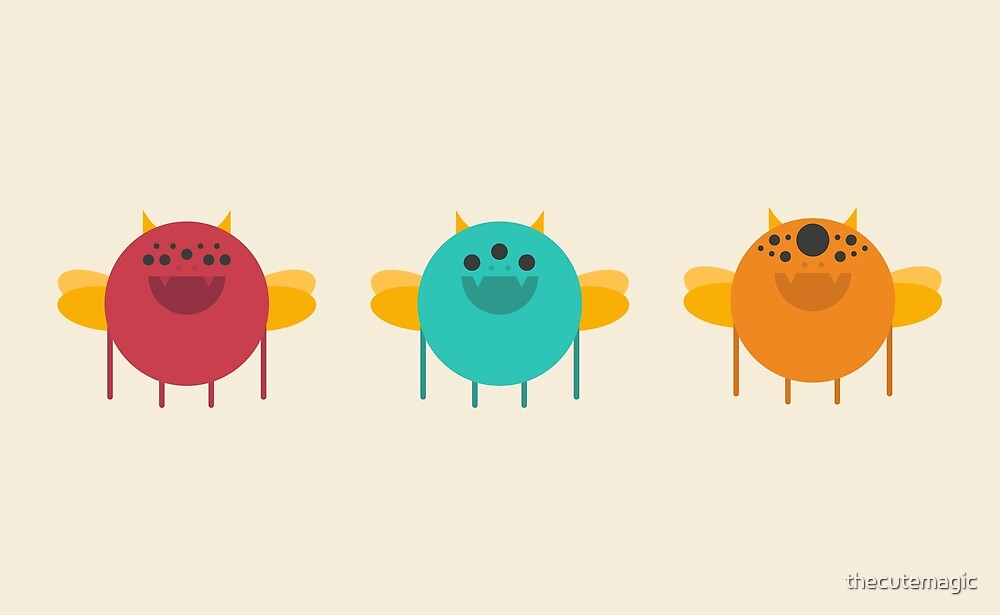 Cute Kawaii Flying Monsters by thecutemagic