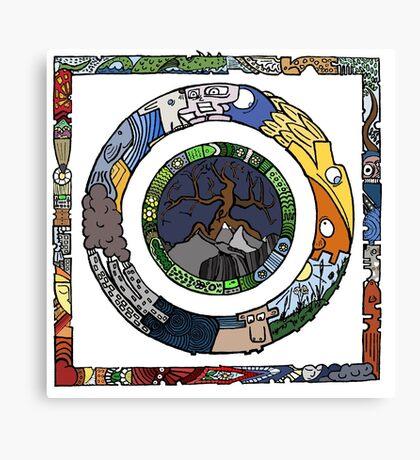 Square and Circle Mandala - COLOURED Canvas Print