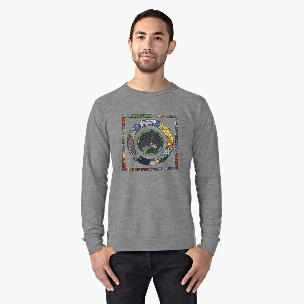 Square and Circle Mandala - COLOURED Lightweight Sweatshirt Front