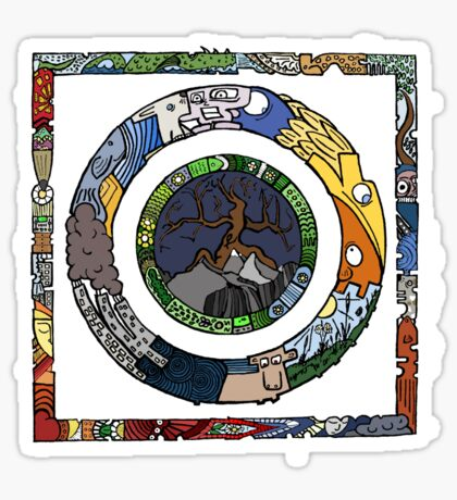 Square and Circle Mandala - COLOURED Sticker