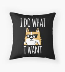Funny I Do What I Want Shiba Inu Throw Pillow