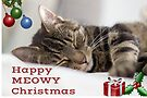 Happy Meowy Christmas Tabby Cat Greetings Card by WiseKitty