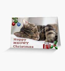 Happy Meowy Christmas Tabby Cat Greetings Card Greeting Card