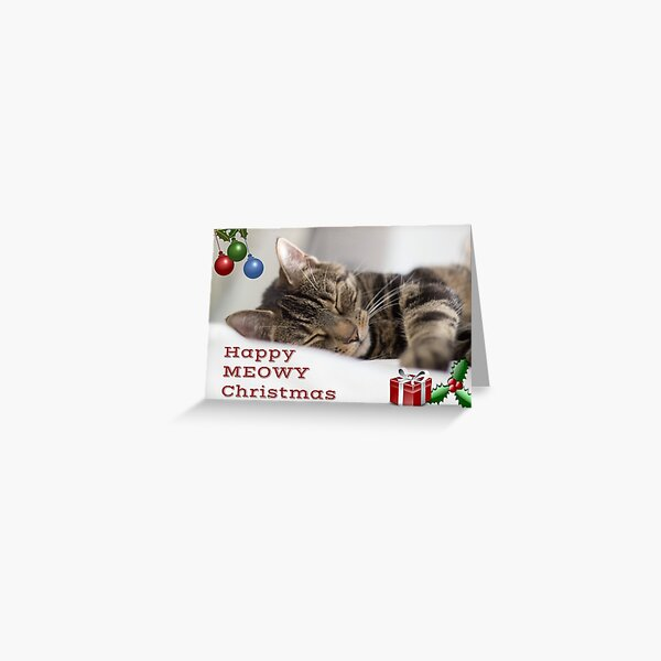 Happy Meowy Christmas Tabby Cat Greetings Card Greeting Card