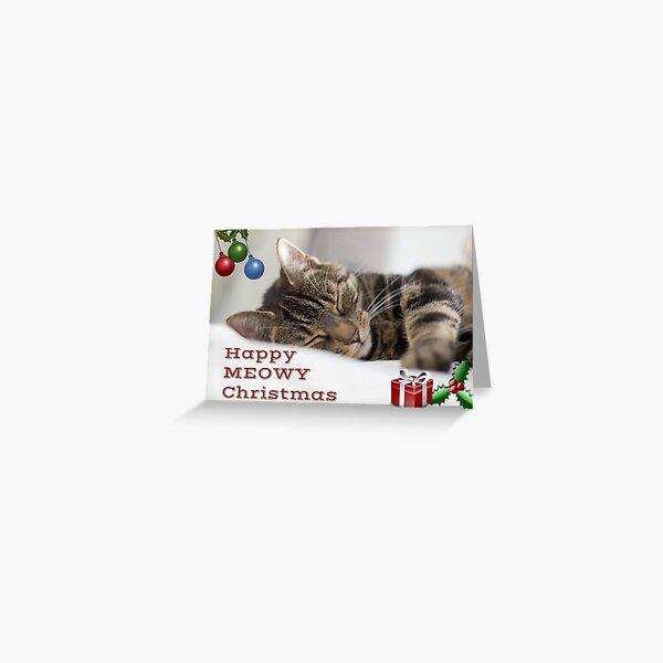 Happy Meowy Christmas Tabby Cat Greetings Greeting Card