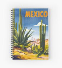 Mexico Vintage Poster Restored Spiral Notebook