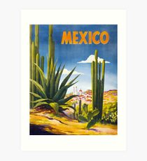 Mexico Vintage Poster Restored Art Print