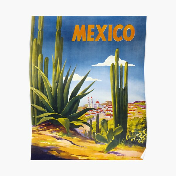 Mexico Vintage Poster Restored Poster