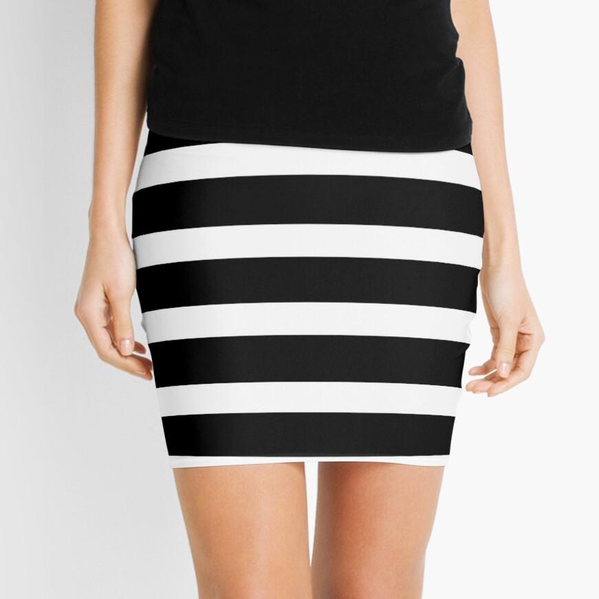 Black White Striped Mini Skirt Mini Skirt