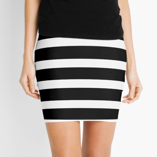 Black White Striped Mini Skirt Mini Skirt