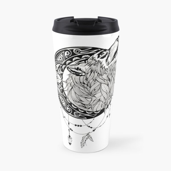 Zentagle Ornate Mandala Wolf Fox Spirit Animal Design Travel Mug By Littlefatrat Redbubble