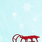 Red Sledge in the snow by Sybille Sterk