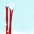 Red Skis in the snow by Sybille Sterk