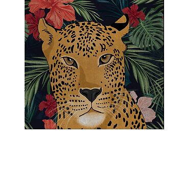 Beautiful Leopard in Tropical Floral Setting by dukito