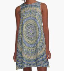 Olive blue mandala A-Line Dress