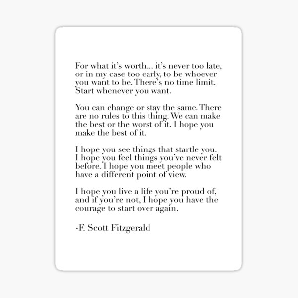 for what it's worth - fitzgerald quote Sticker