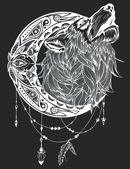 Pósters Mandala Luna Lobo Aullando Espíritu De Animal Totem