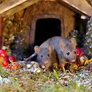 christmas mice at winter  log cabin very festive  by Simon-dell