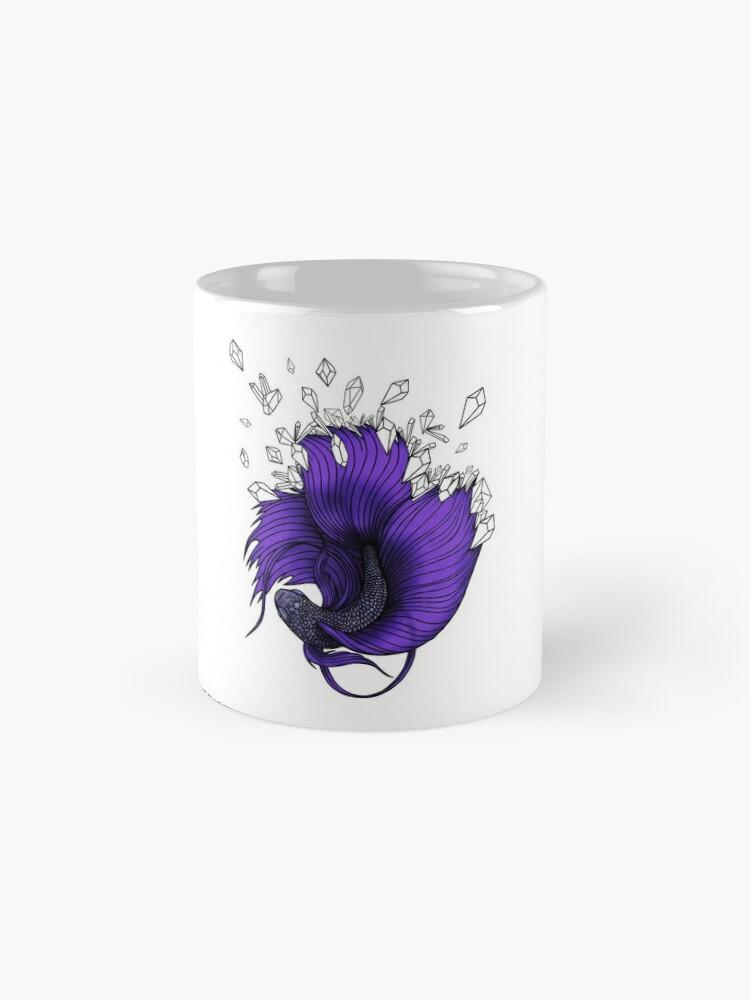 Alternate view of Purple Betta Fish with Crystals  Mug