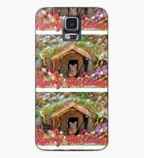 Merry christmas mice at winter log cabi n very festive card design  Case/Skin for Samsung Galaxy