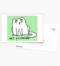 fat and confused cat Postcards