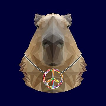 Cute Capybara with Peace Symbol Low-poly  by GiorgioN