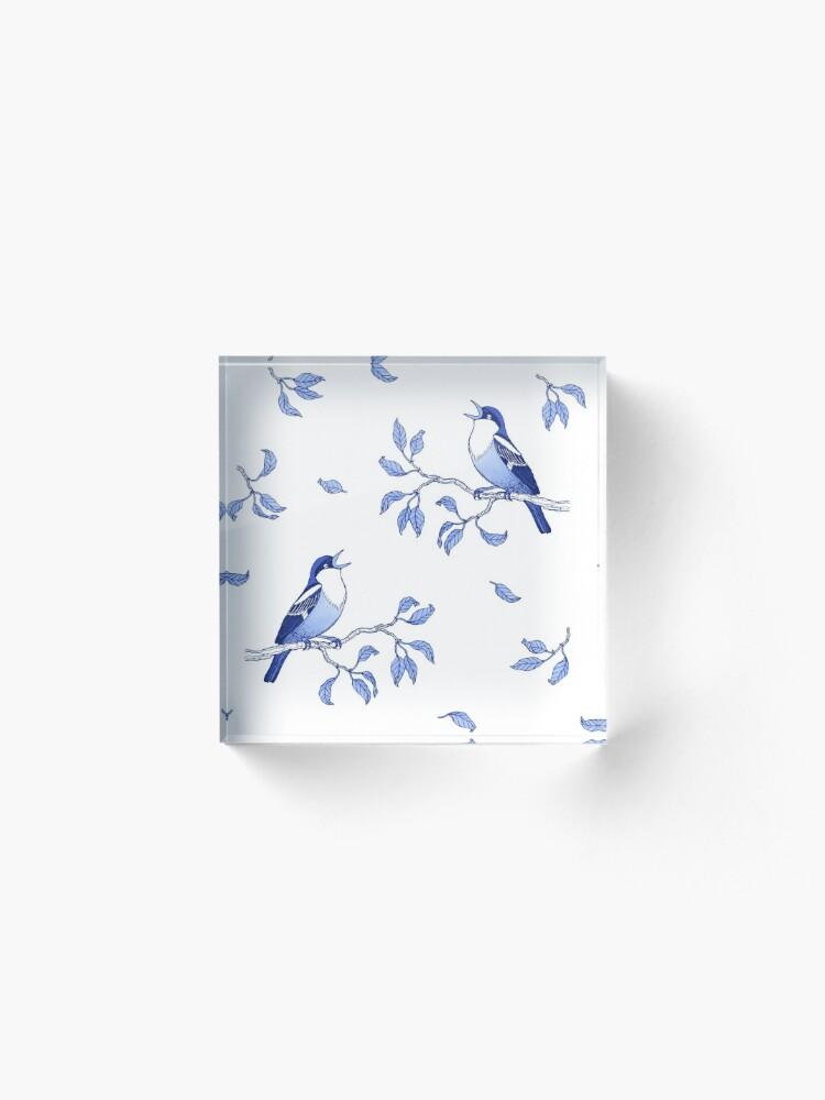 Alternate view of Blue Bird Pattern Acrylic Block