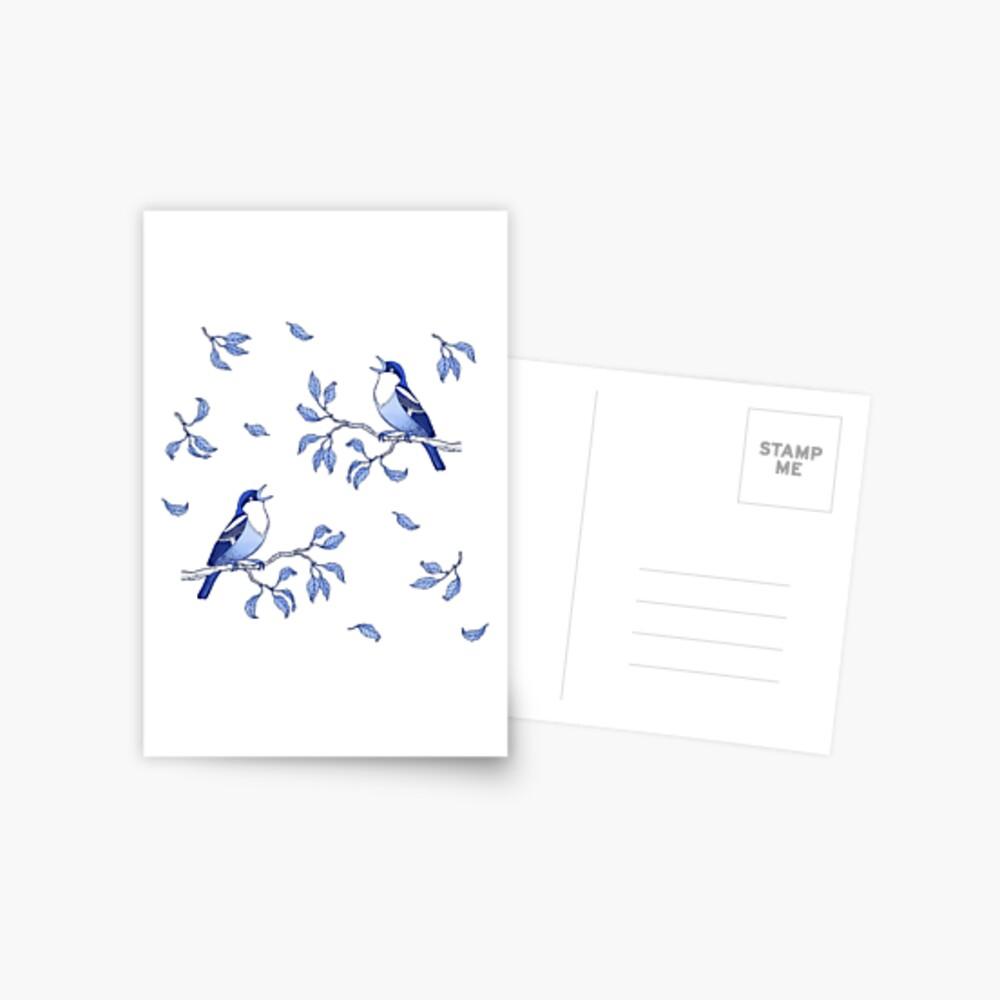 Blue Bird Pattern Postcard