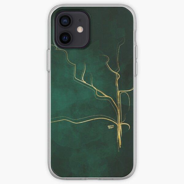 Kintsugi Emerald Green #art #decor #buyart #japanese #gold #green #kirovair #design iPhone Soft Case