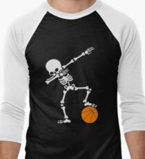 Funny Dabbing Skeleton Basketball Shirt - Perfect Dabbing Skeleton Basketball Hoodie - Women Man Kids Men's Baseball ¾ T-Shirt