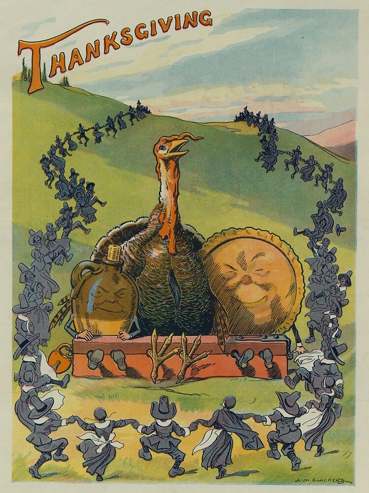 Vintage Thanksgiving Turkey and Feast Celebration (1913) by BravuraMedia
