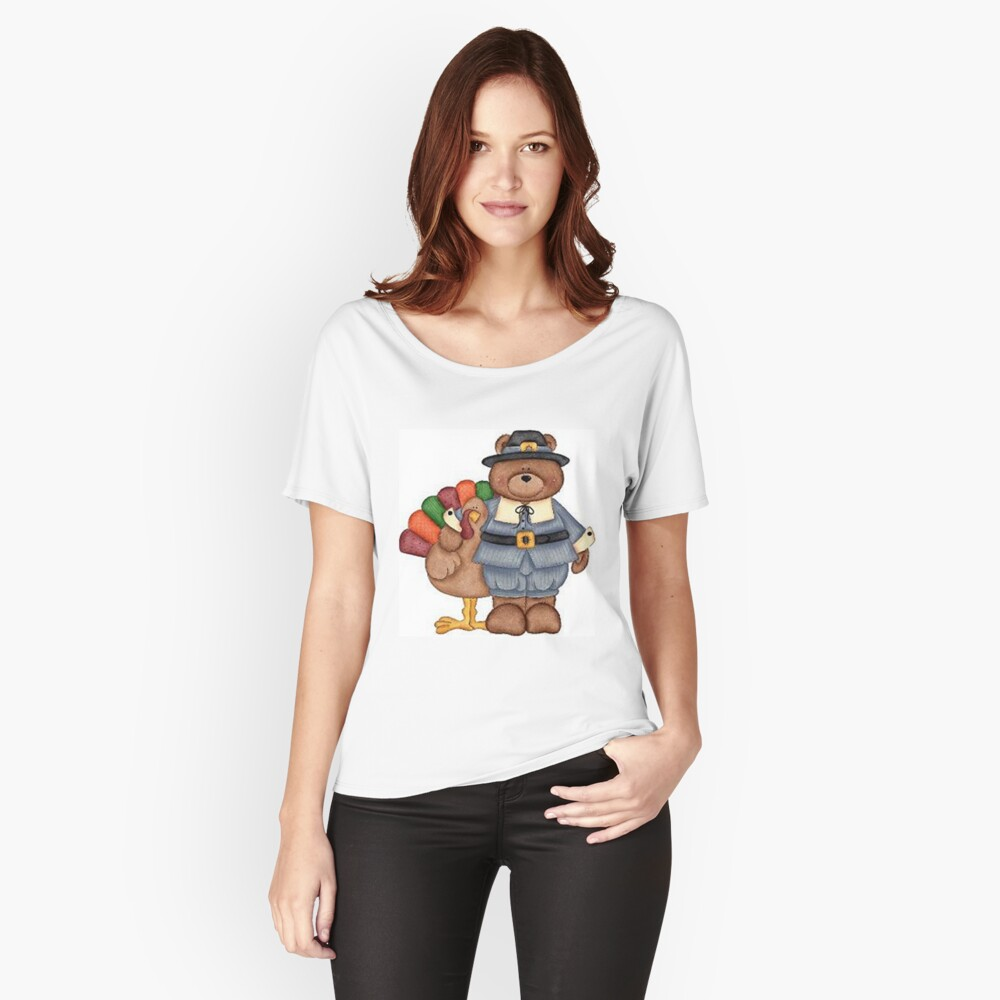 Teddy Pilgrim And Turkey Women's Relaxed Fit T-Shirt Front