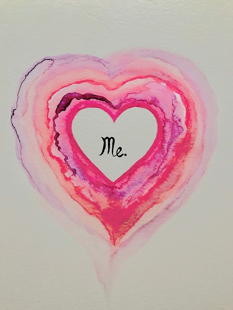 Pink heart watercolor self love by katiemarie33