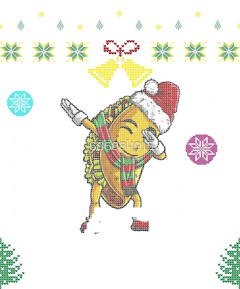 Ugly Sweater Dab Taco Santa T Shirt Christmas Girls Gifts by 686884915
