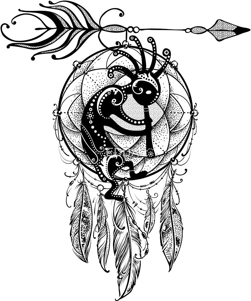 Native American Filigree Kokopelli Dreamcatcher 1 by EDDArt