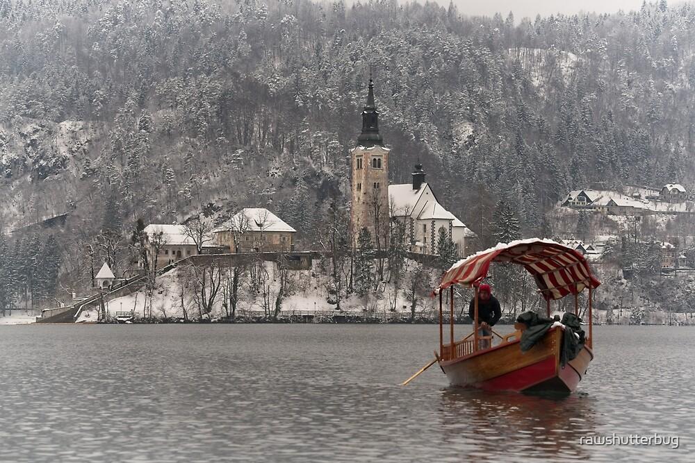 Red Pletna Boat Leaving Bled Island by rawshutterbug