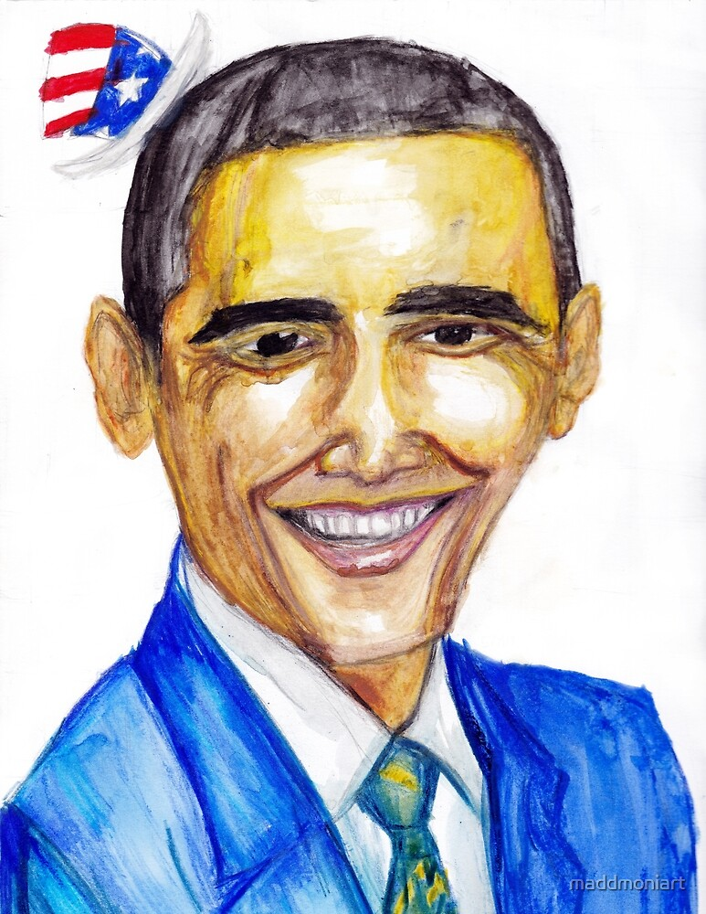 Barack Obama USA hat watercolor by MaddMoniArt by maddmoniart