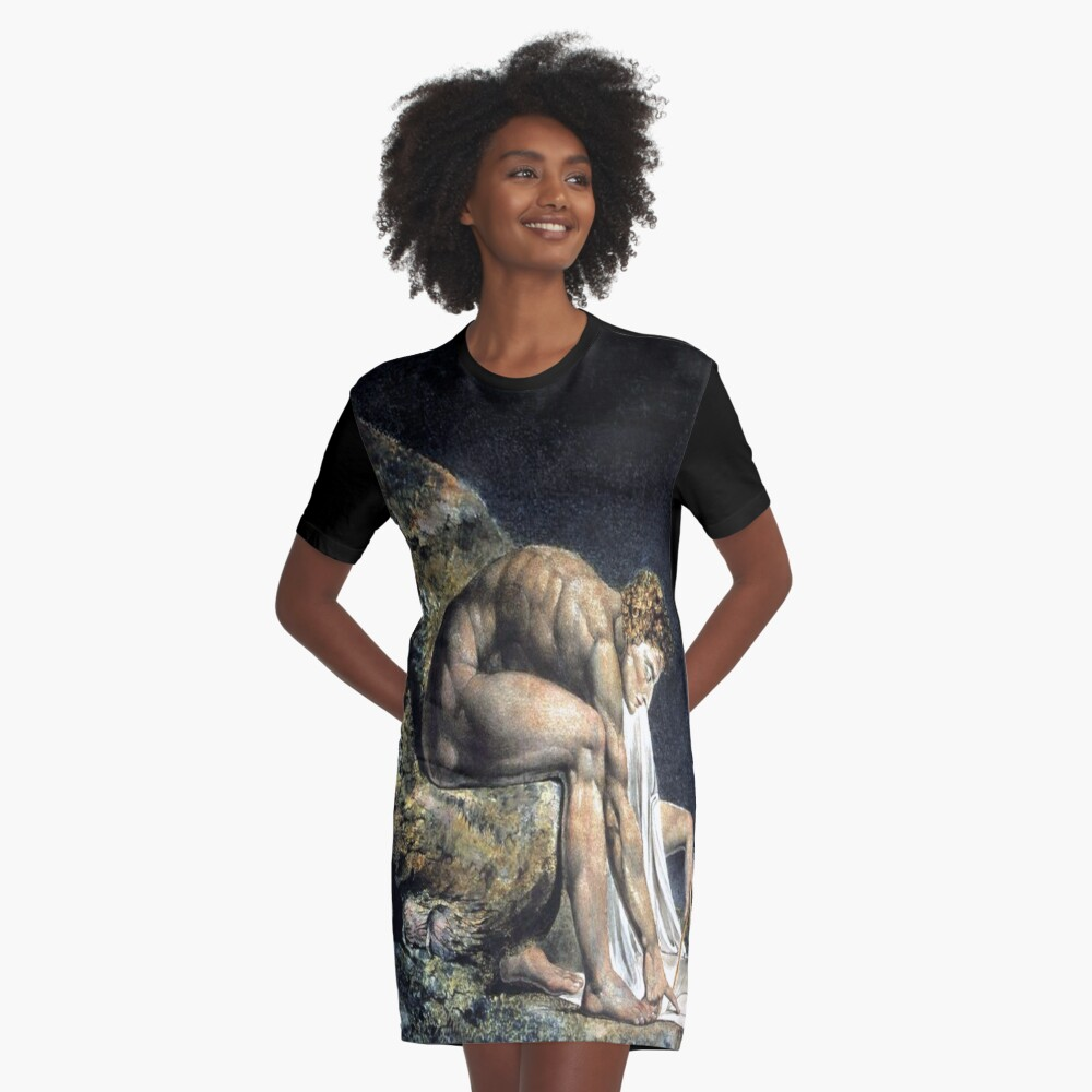 Isaac Newton-William Blake Graphic T-Shirt Dress Front