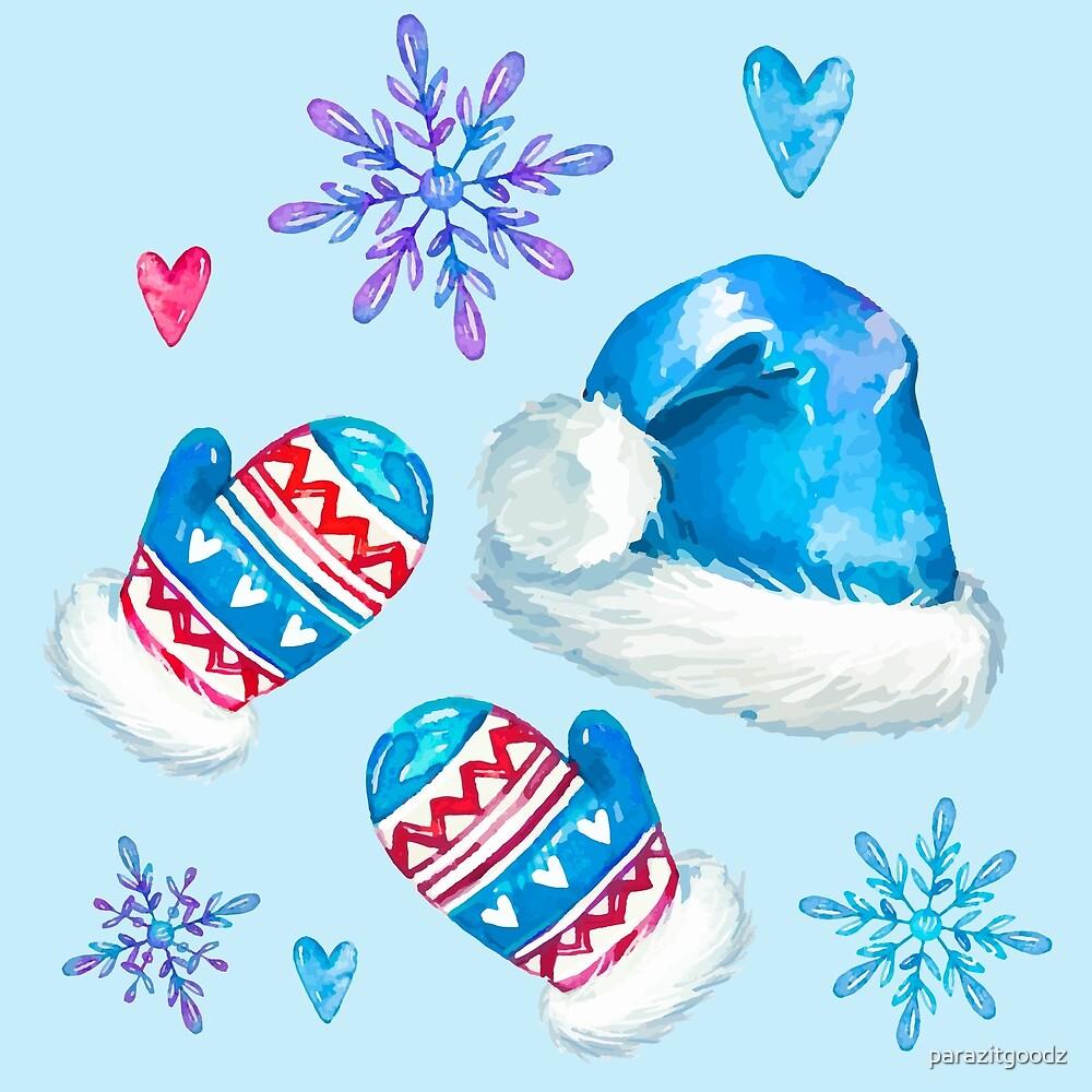 Blue Christmas Santa and Snowflakes Pattern by parazitgoodz