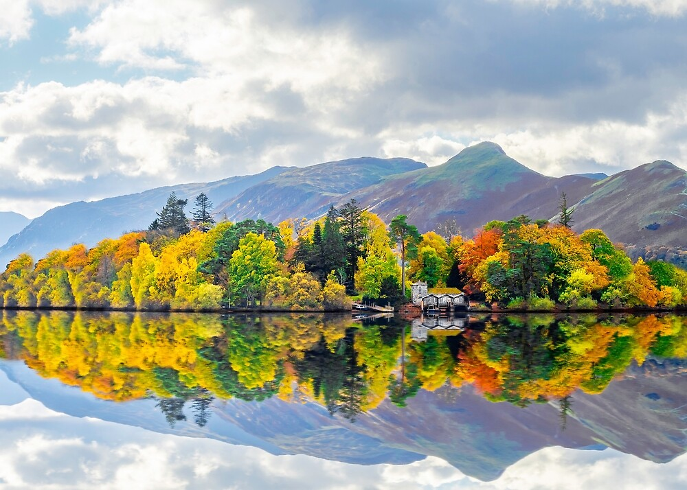 Autumnal reflections from Derwent Water in the UK Lake District  by andrewgeorge