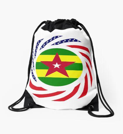 Togolese American Multinational Patriot Flag Series Drawstring Bag