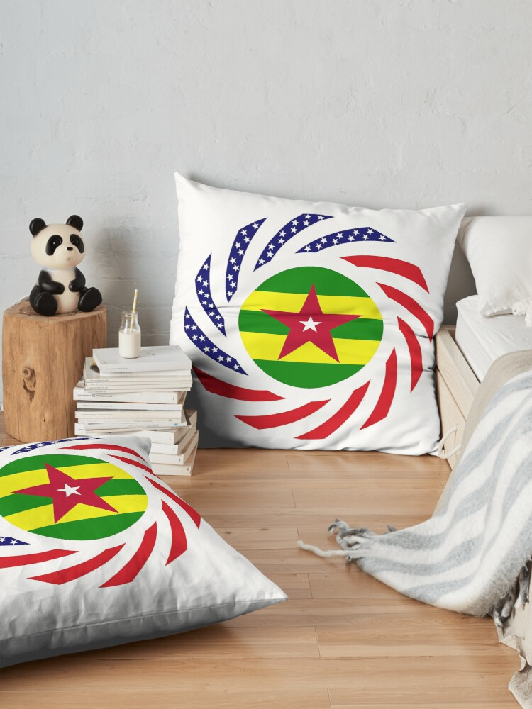 Alternate view of Togolese American Multinational Patriot Flag Series Floor Pillow